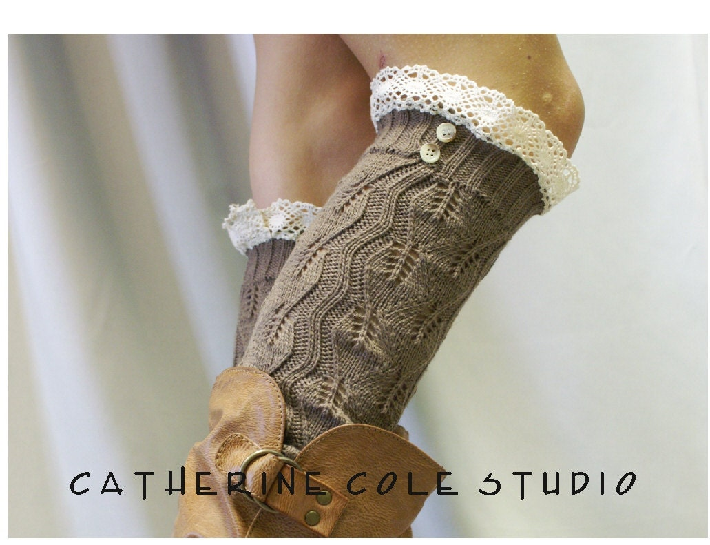 Lace  leg warmers 4 colors  cluny lace 2 tortoise buttons womens leaf knit pattern  great with all boots by Catherine Cole Studio - CatherineColeStudio