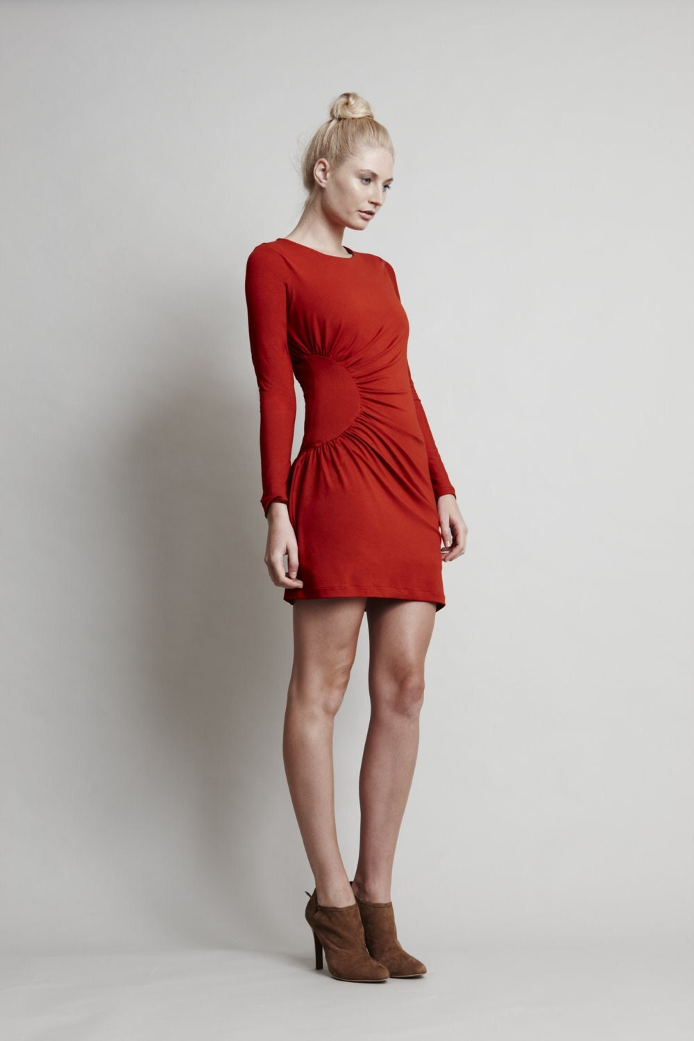 Blaze Dress - Long Sleeve Red Jersey Mini with Round Neck and Circular Gathers on One Side - Super flattering - threelittleducksaust