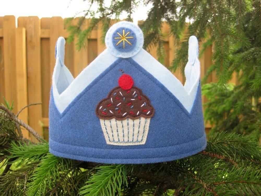Blue Cupcake Crown with Jewel Tips -- For Birthdays and imaginative play