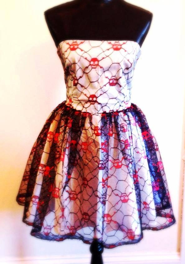 Lace skull dress punk wedding dress for Sugar skull wedding dress