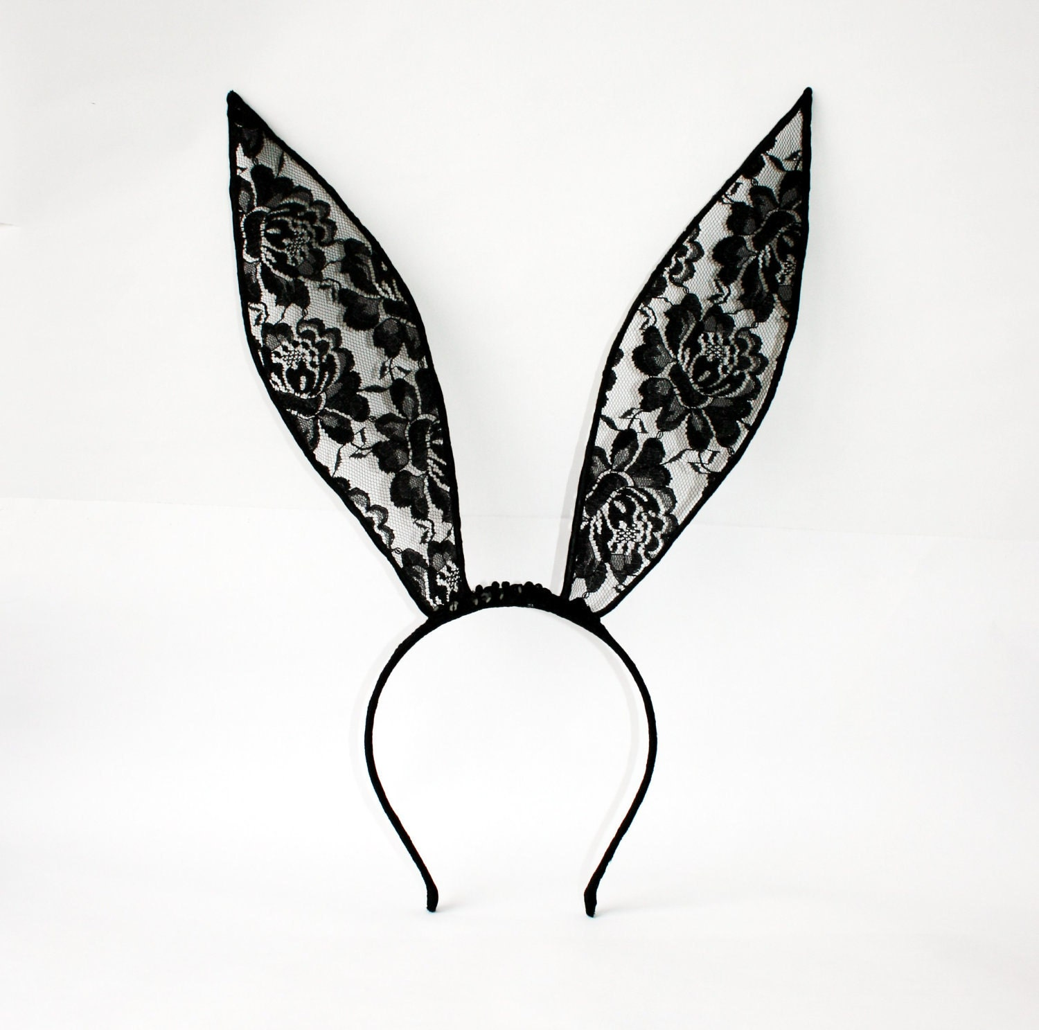 Black lace bunny ears headband Made to Order by leasstudio