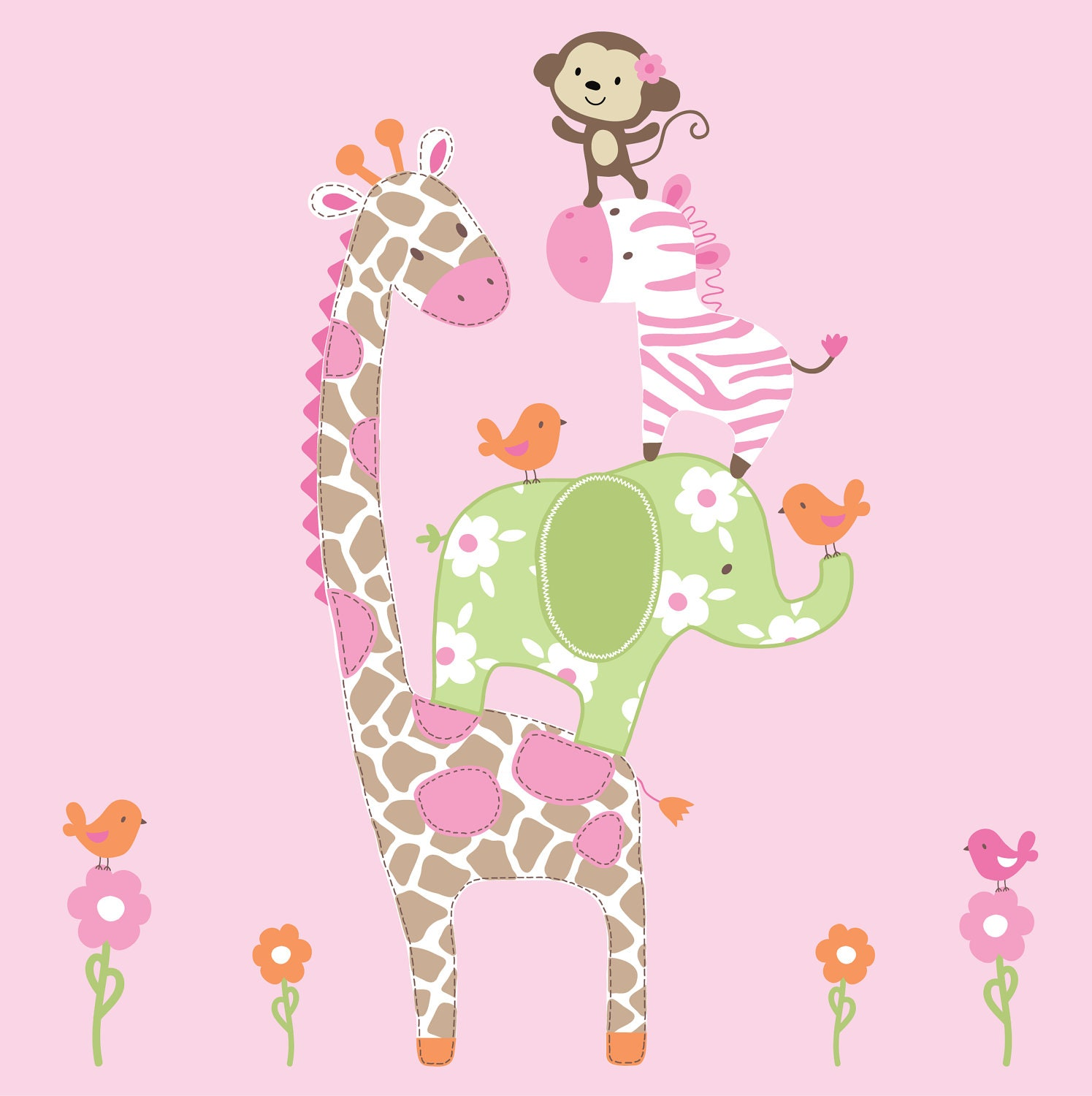 Wall Art Stickers Jungle : Girls jungle animals decals vinyl wall art decal by