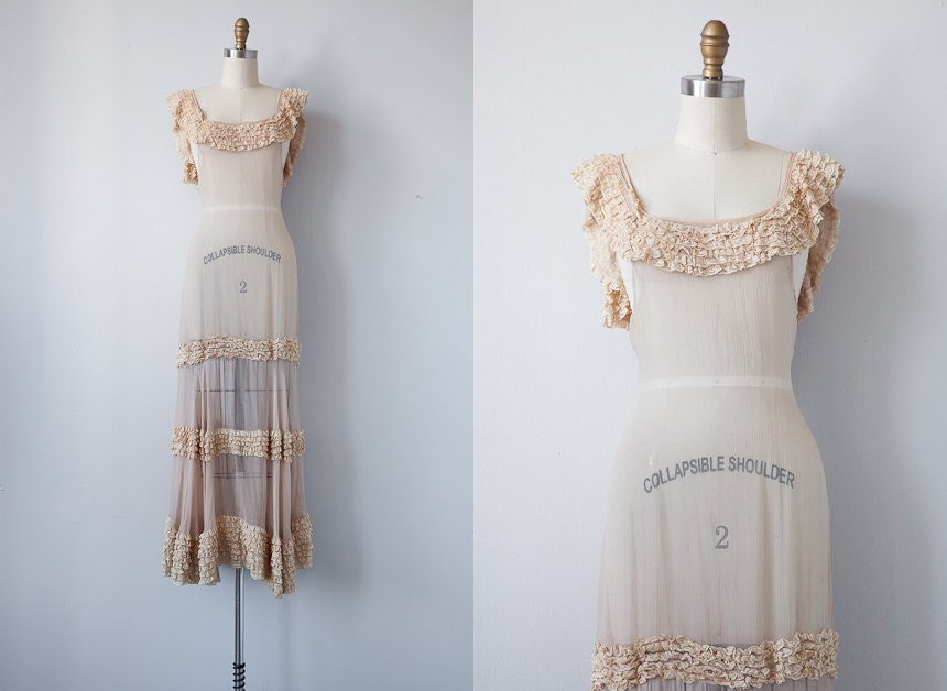 vintage 1930s gown / vintage 1930s dress / vintage cream sheer ruffled wedding gown / antique dress