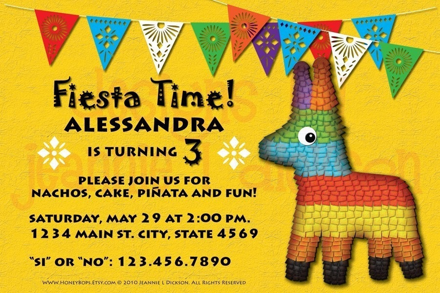 Fiesta Time Custom Printable Invite  Personalized by HoneyBops on Etsy.com from etsy.com