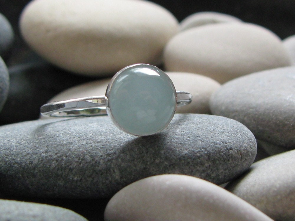 Twilight Inspired Bella Ring. Sterling Silver and Aquamarine Ring. Engraveable.