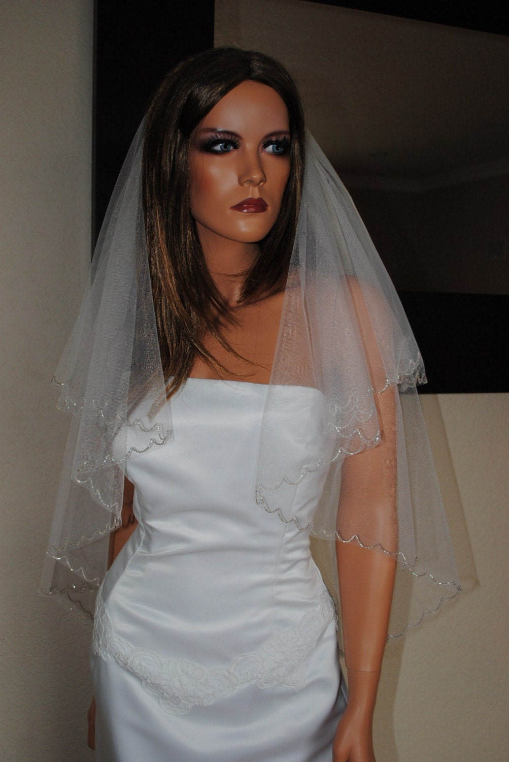 Two Tier Fingertip Veil with Dangling Beads in White or Ivory