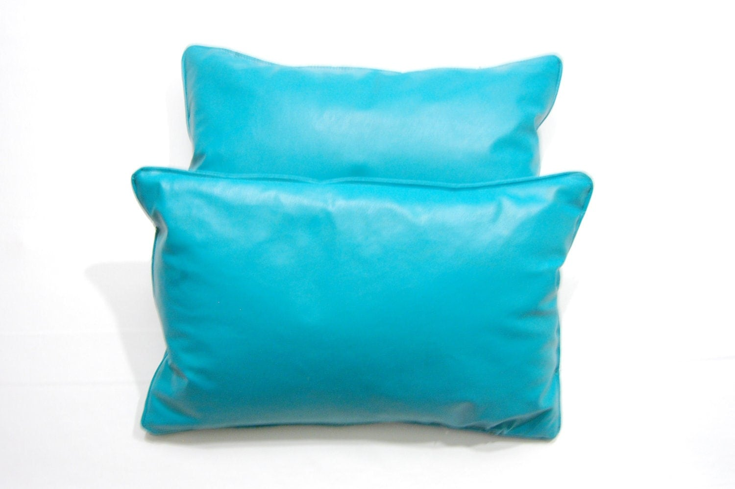 Vinyl Throw Pillows : Pair of Bright Blue Vinyl Throw Pillows by HoneyKnuckle on Etsy