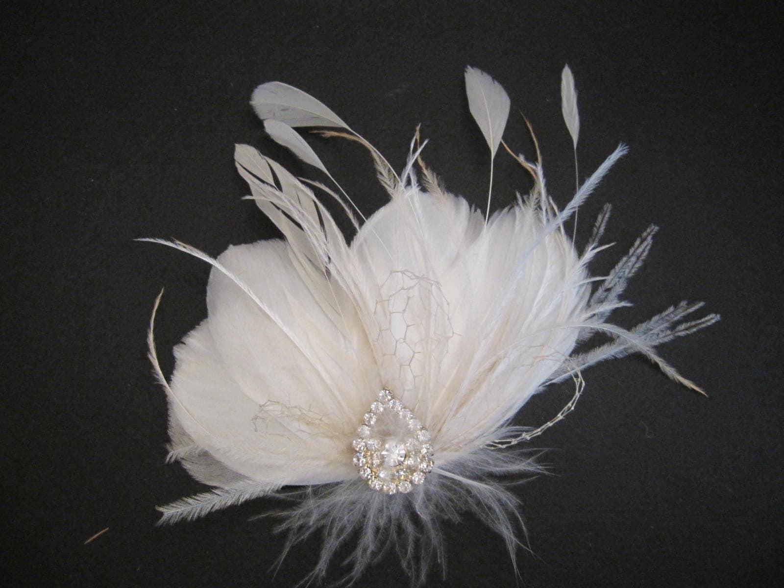 MIA, CUSTOM ORDER RESERVED FOR ALISONG02, wedding, hair piece, bridal, fascinator, feathers, vintage, wedding, flower