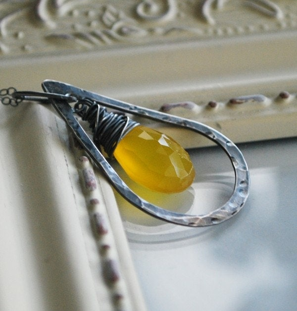 Bright Yellow Chalcedony and Oxidized Sterling Silver Hammered Teardrop - Ecru Necklace