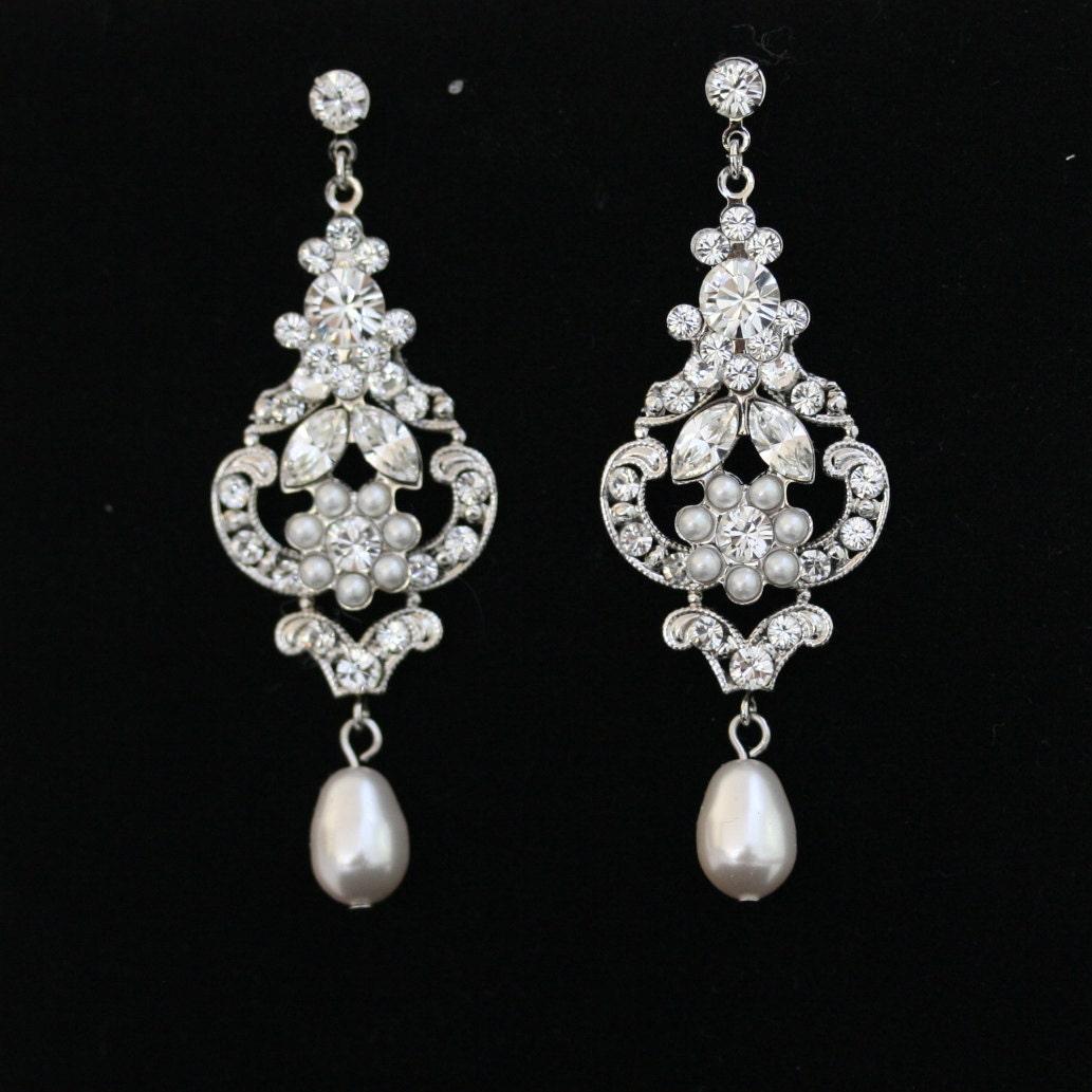 Wedding Earrings Chandelier Bridal Earrings White Pearl Drop