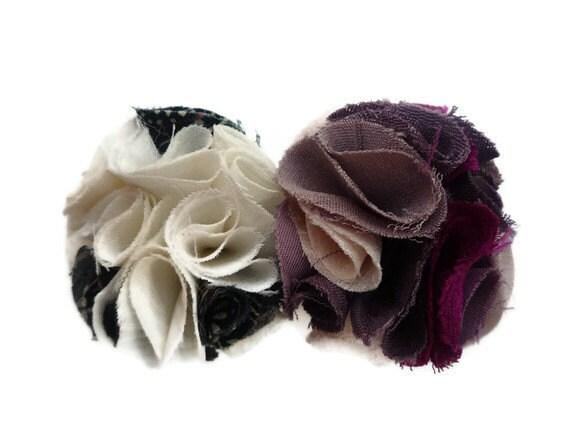 Kawaii Japanese Vintage Silk Kimono Plum Blossom 3 Ume flowers Barrette 04031202 - tomoandedie