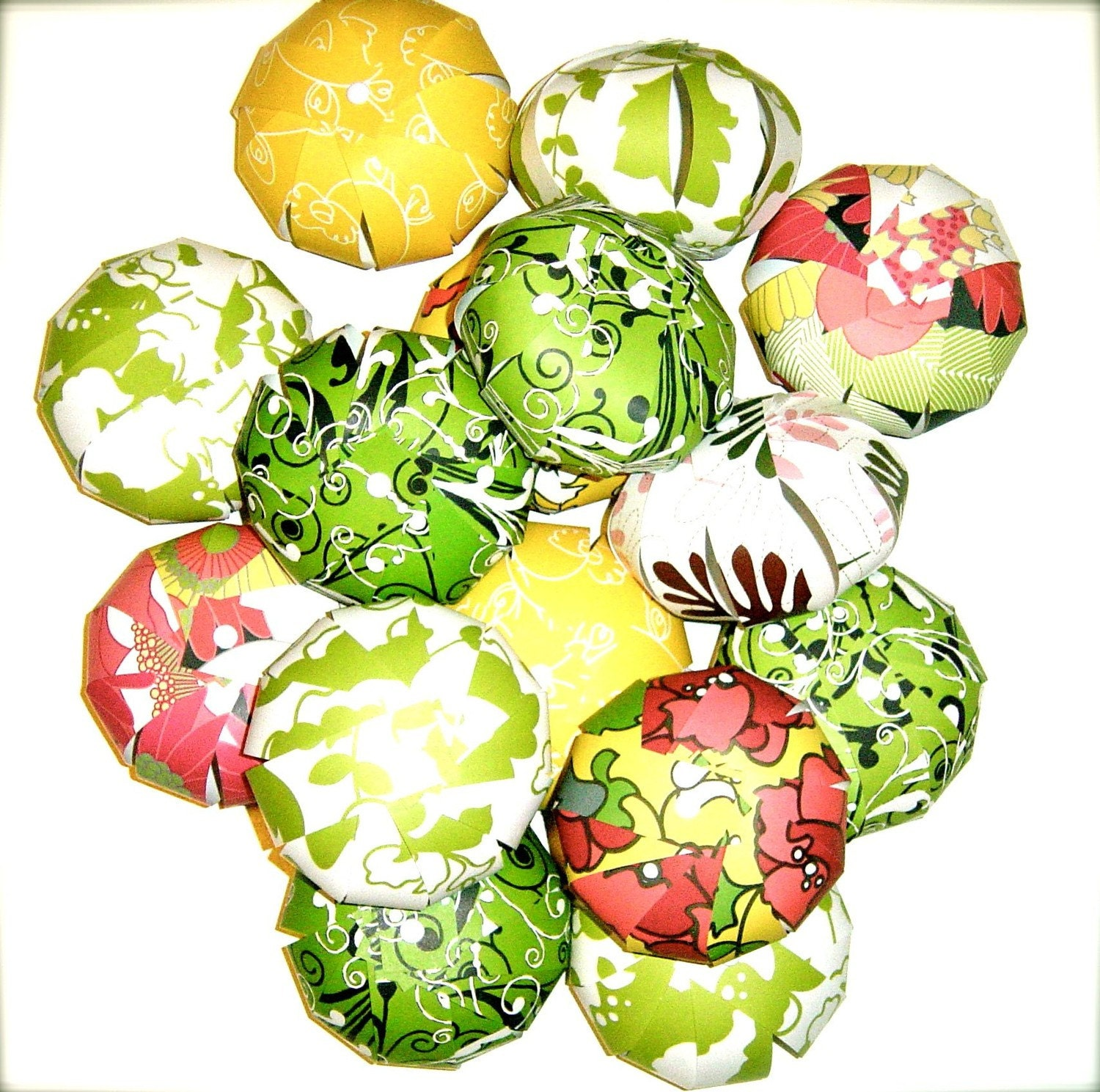15 Paper Saucy Sweet Sangria Pom Poms Balls Tangerines pomegranates photo props tablescape ornament collection garland place holders Potpourri Chocolate Brown, Pistachio Kiwi, Lemon, white, OOAK
