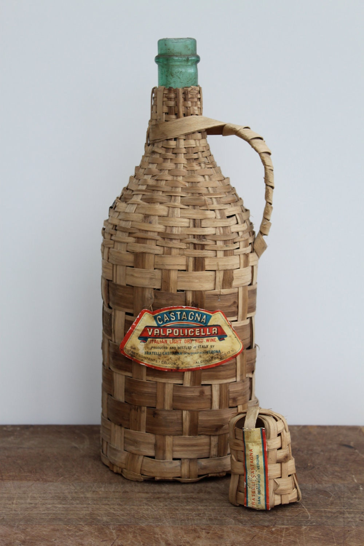 Vintage italian green glass wine bottle encased in by for Green wine bottles