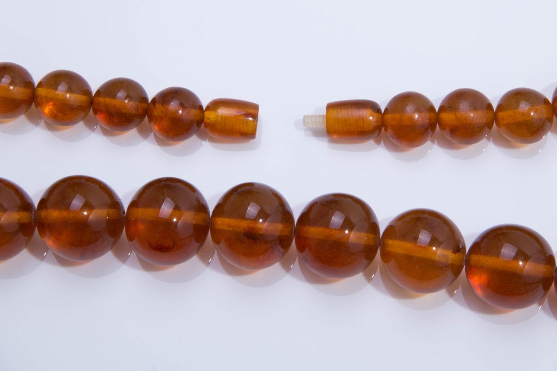 Antique Edwardian C1910 Butterscotch Amber Bead Necklace