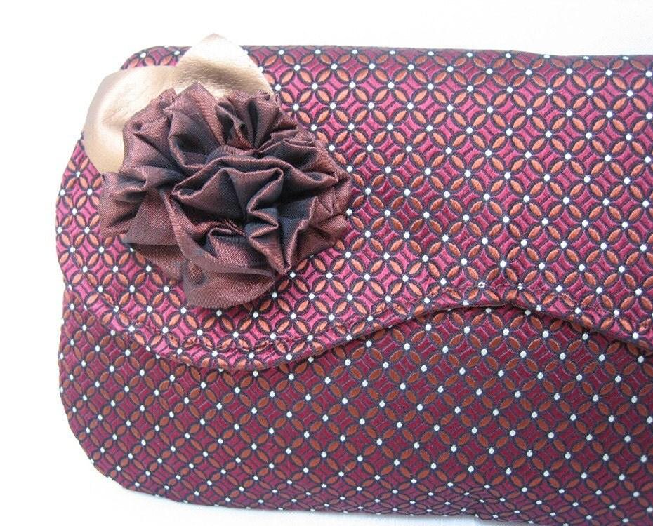 Silk Clutch - Romantic Vintage Victorian Formal  - Burgandy Copper
