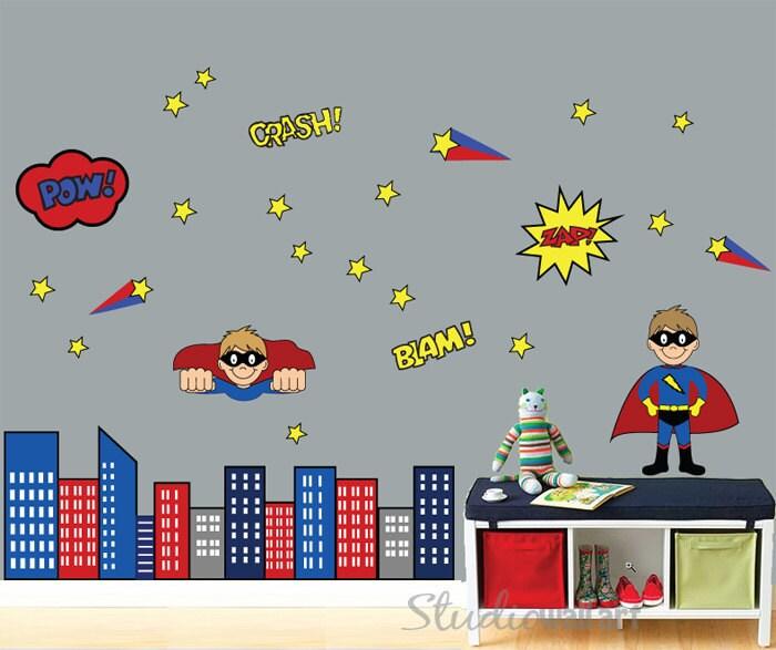reusable superhero wall decal childrens wall by studiowallart