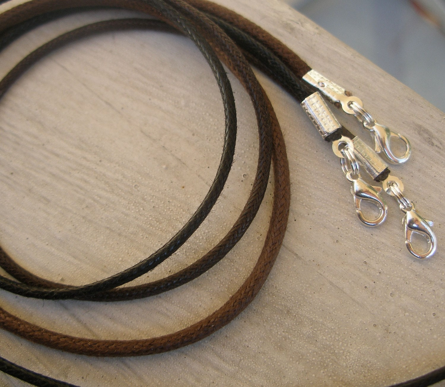 6 - Black or Brown Waxed Cotton Necklace Cords - Heavy Duty Any length - Use with Lg Pendants, Slider beads, Pandora or Lg Bails