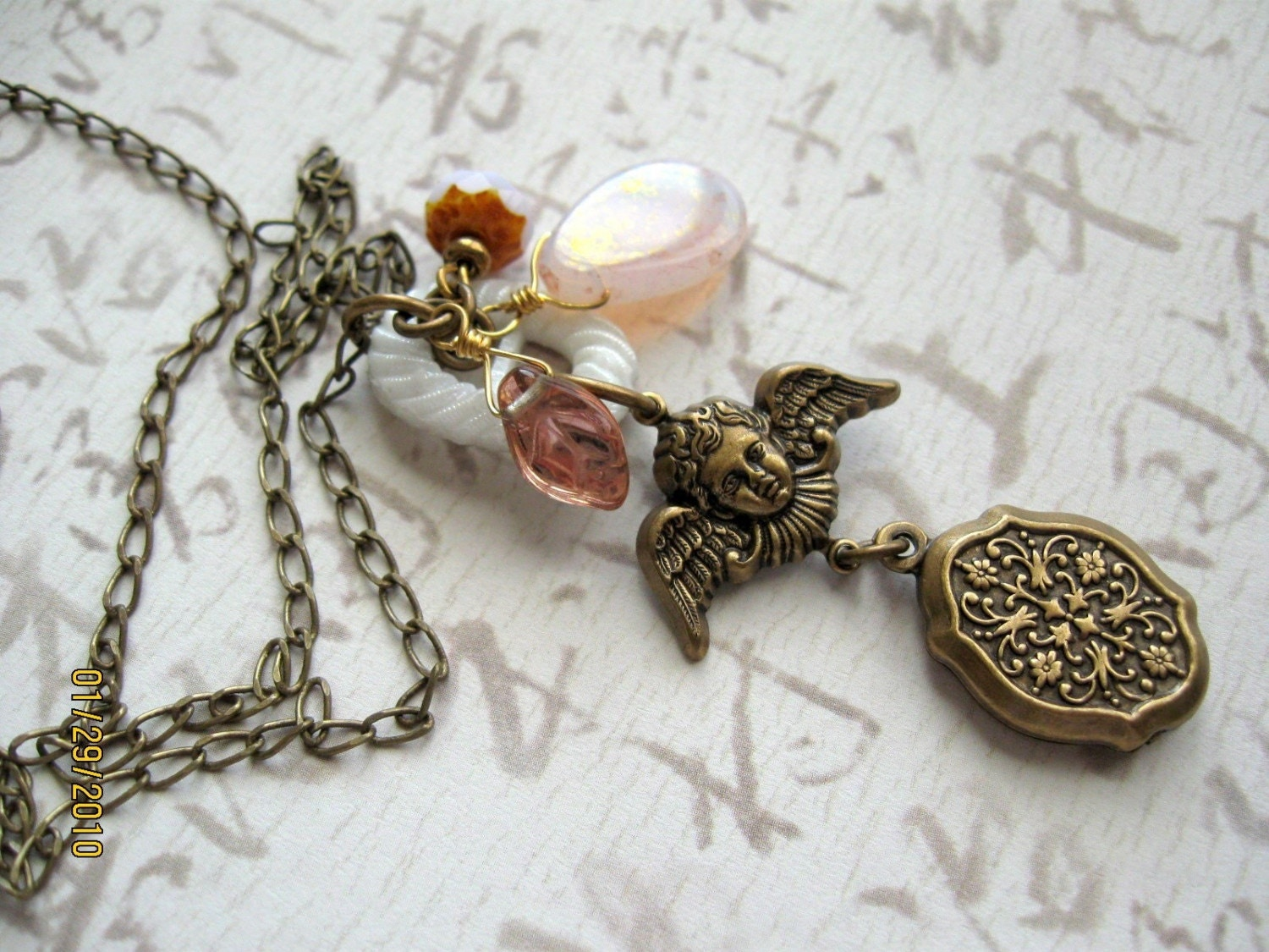 Vintage Angel Charm Necklace