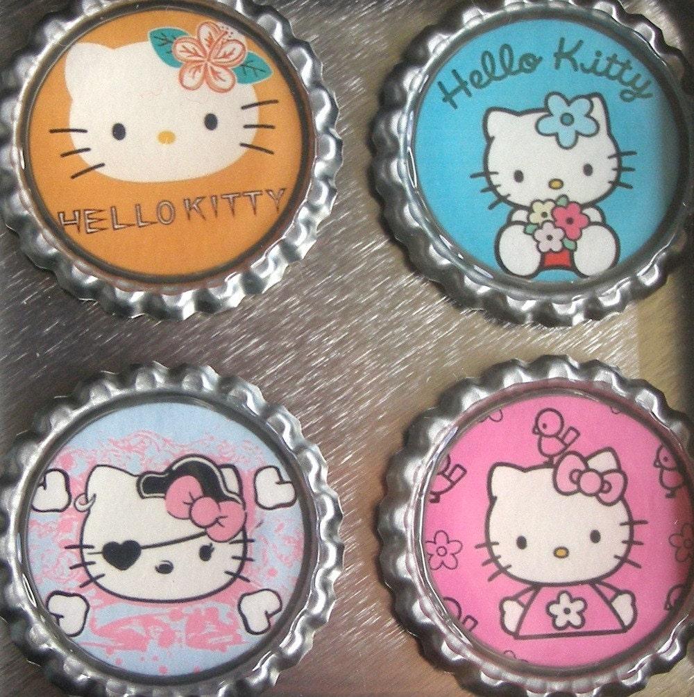Hello Kitty Bottle Cap Magnet Set with Tin
