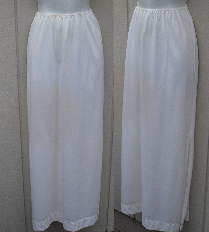 70 s maxi white skirt slip vintage sears half slip by