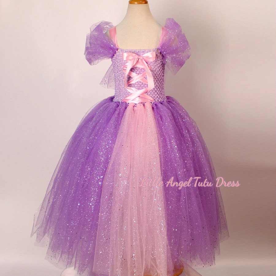 DELUXE Tangled Rapunzel Glitter Purple Dress Handmade Disney Princess Dress Glitter Tulle Dress Birthday Dress  Fully Lined Top