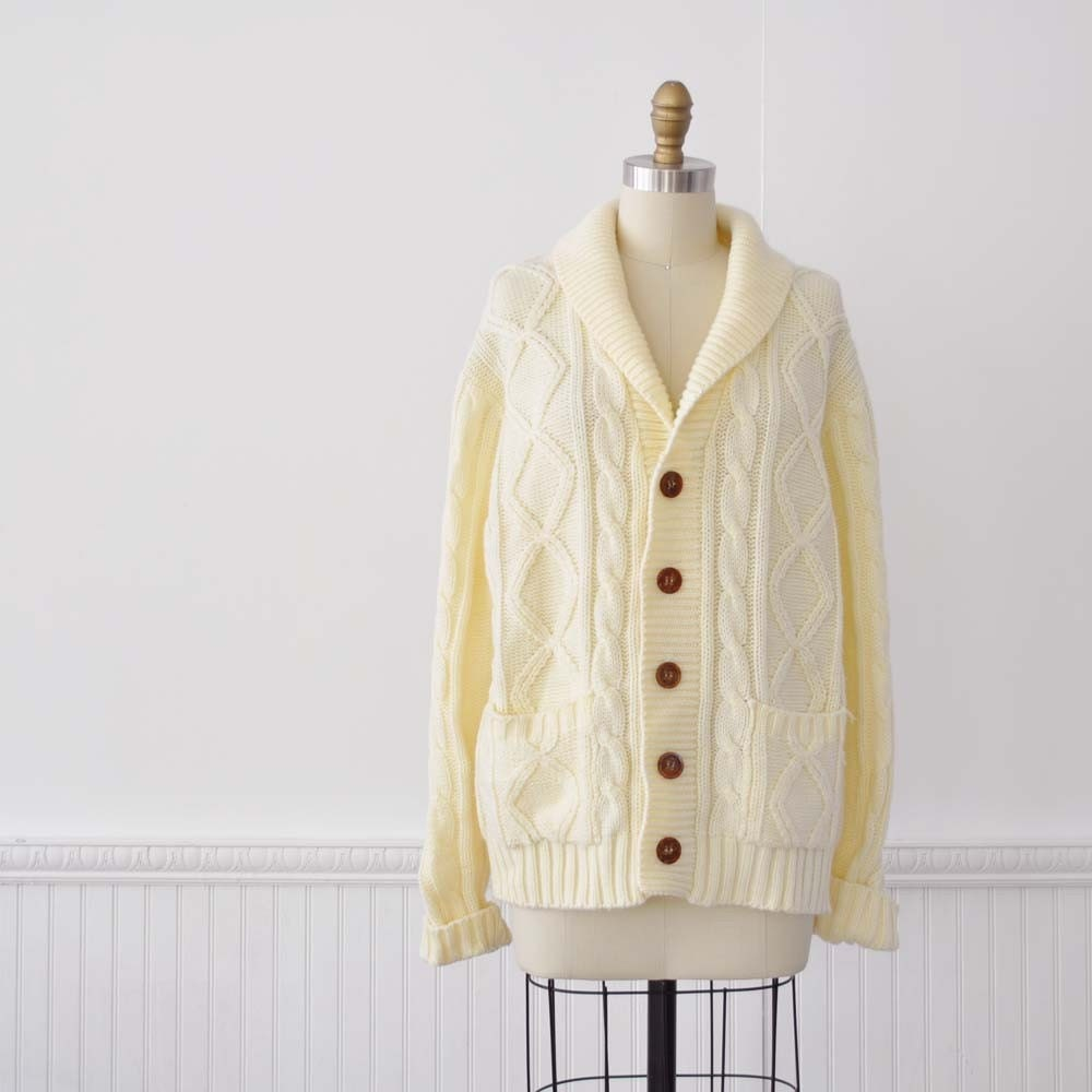 Vintage 70s Men's GRANDPA Cable Cardigan by MariesVintage on Etsy