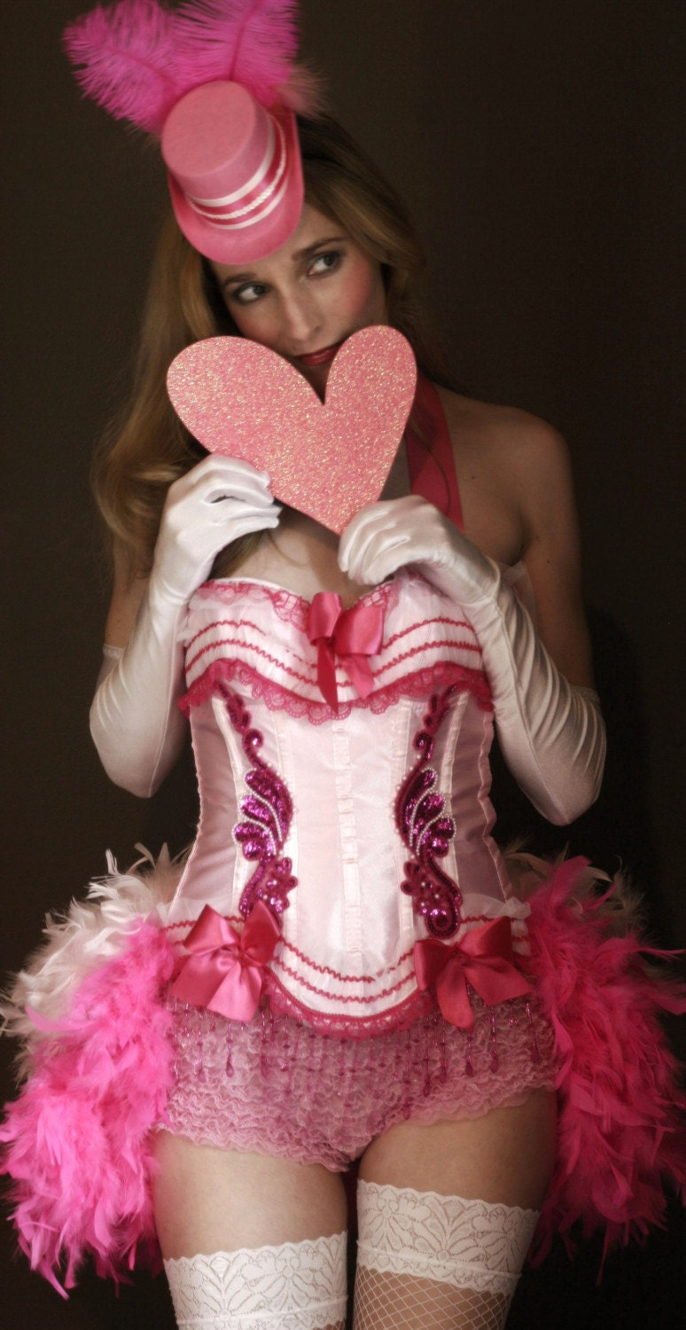 PINK LADY - CORSET COSTUME -Moulin Rouge Circus Burlesque Showgirl -FREE MINI TOP HAT size S, M, L, XL