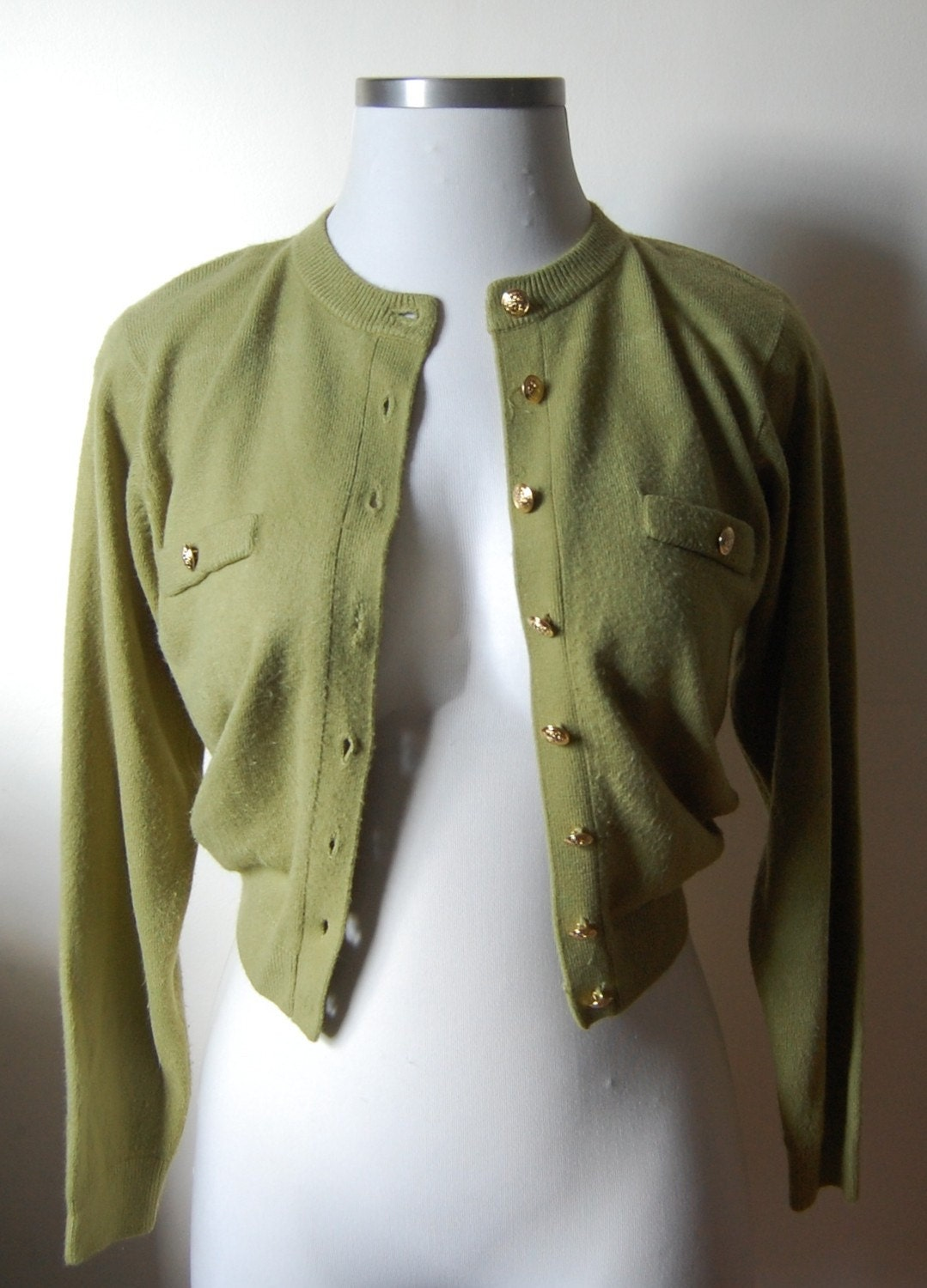 one year sale / Vintage CHARTREUSE Military Sweater with Gold Buttons
