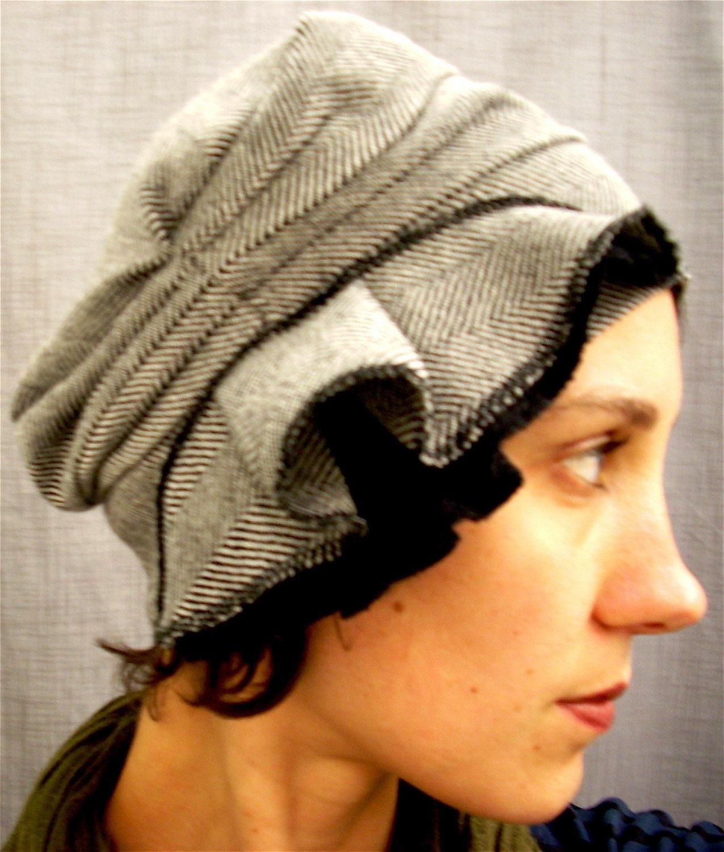 wool cloche - black and white herringbone