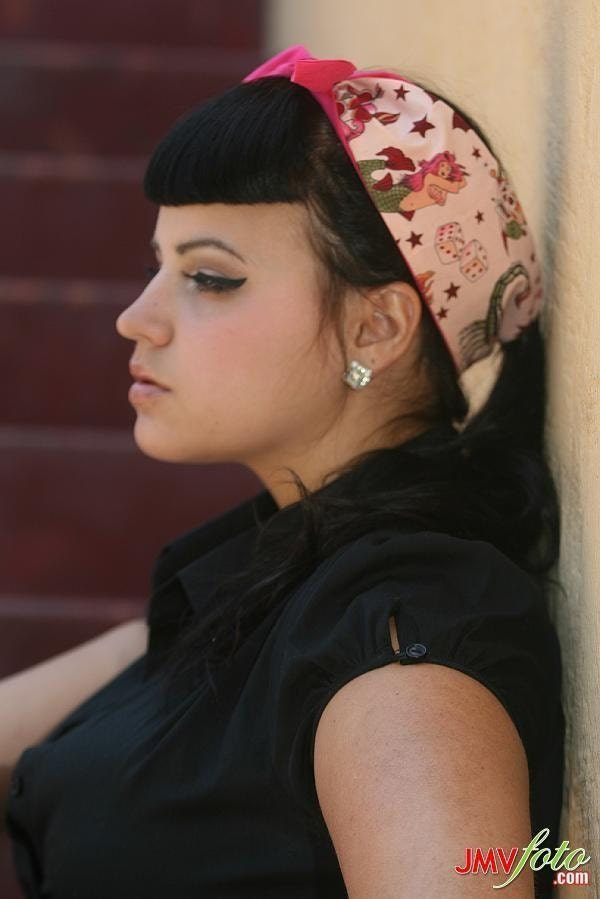 rockabilly hair with bandana. Rockabilly Hair tie,