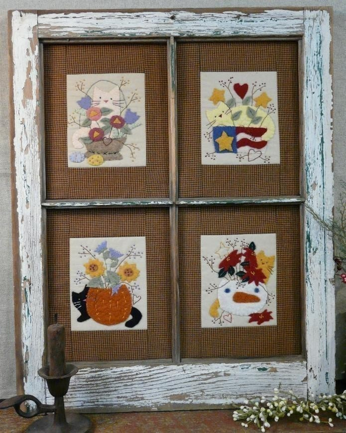 Four Seasons Cats and Flowers E Pattern - window frame Pdf quilt stitchery embroidery wool applique kitty