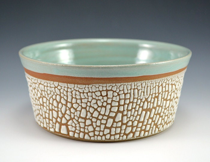 Crackle Glaze Bowl - Robins Egg Blue - RhynoClayworks