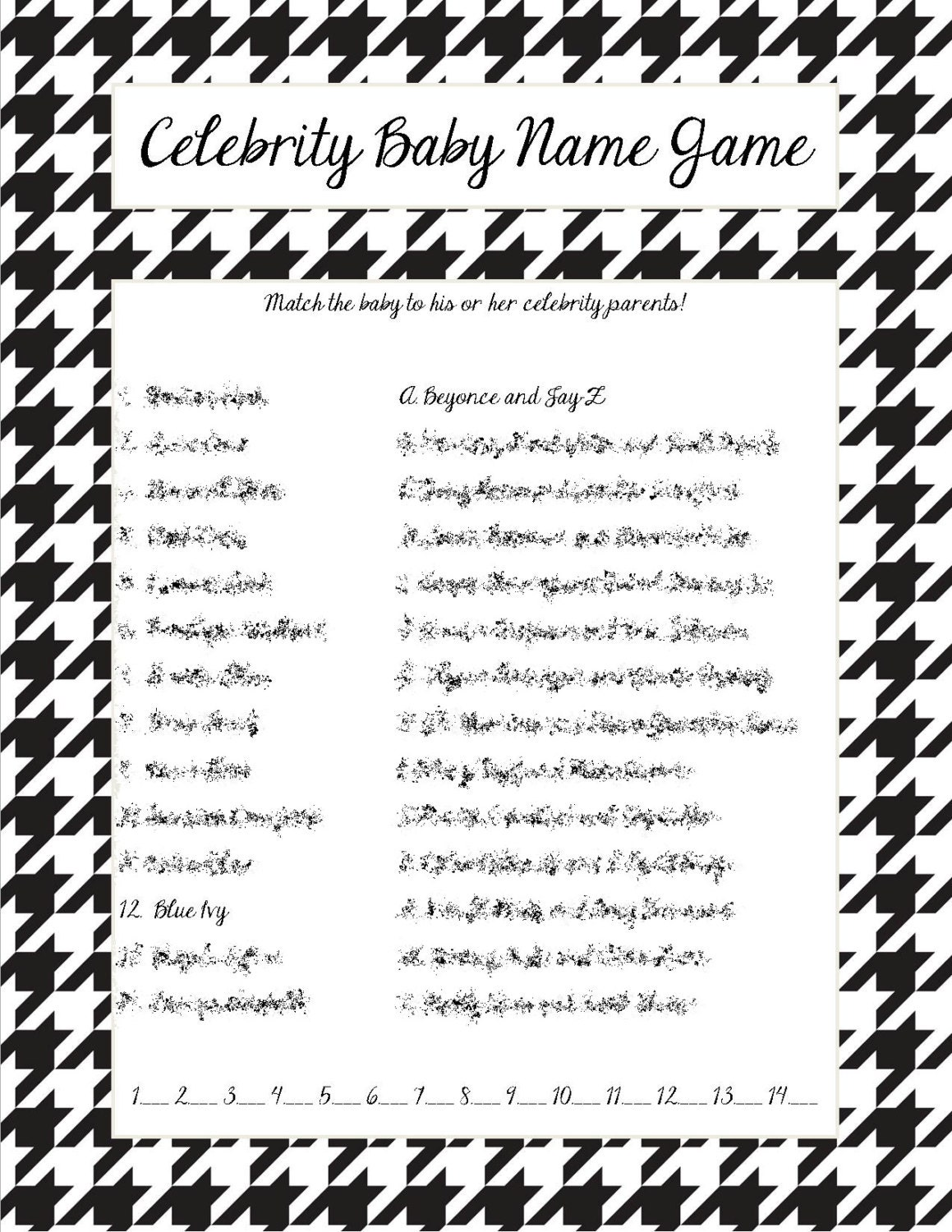 Celebrity baby name game black and white houndstooth border