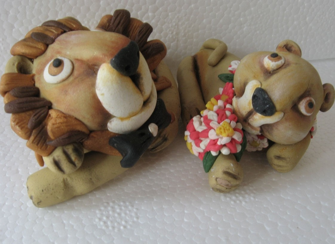Wedding Cake Topper- Lions - FREE SHIPPING