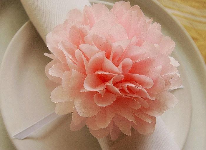 6 Tissue flowers, Napkin rings, Napkin holders, Topper poms with satin ribbon