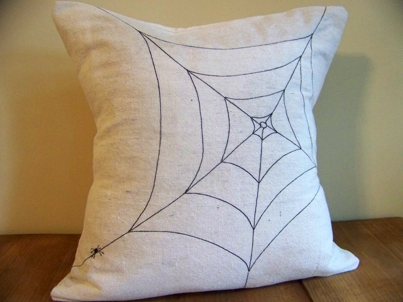 spider web halloween pillow - canvas - spooky creepy halloween decoration