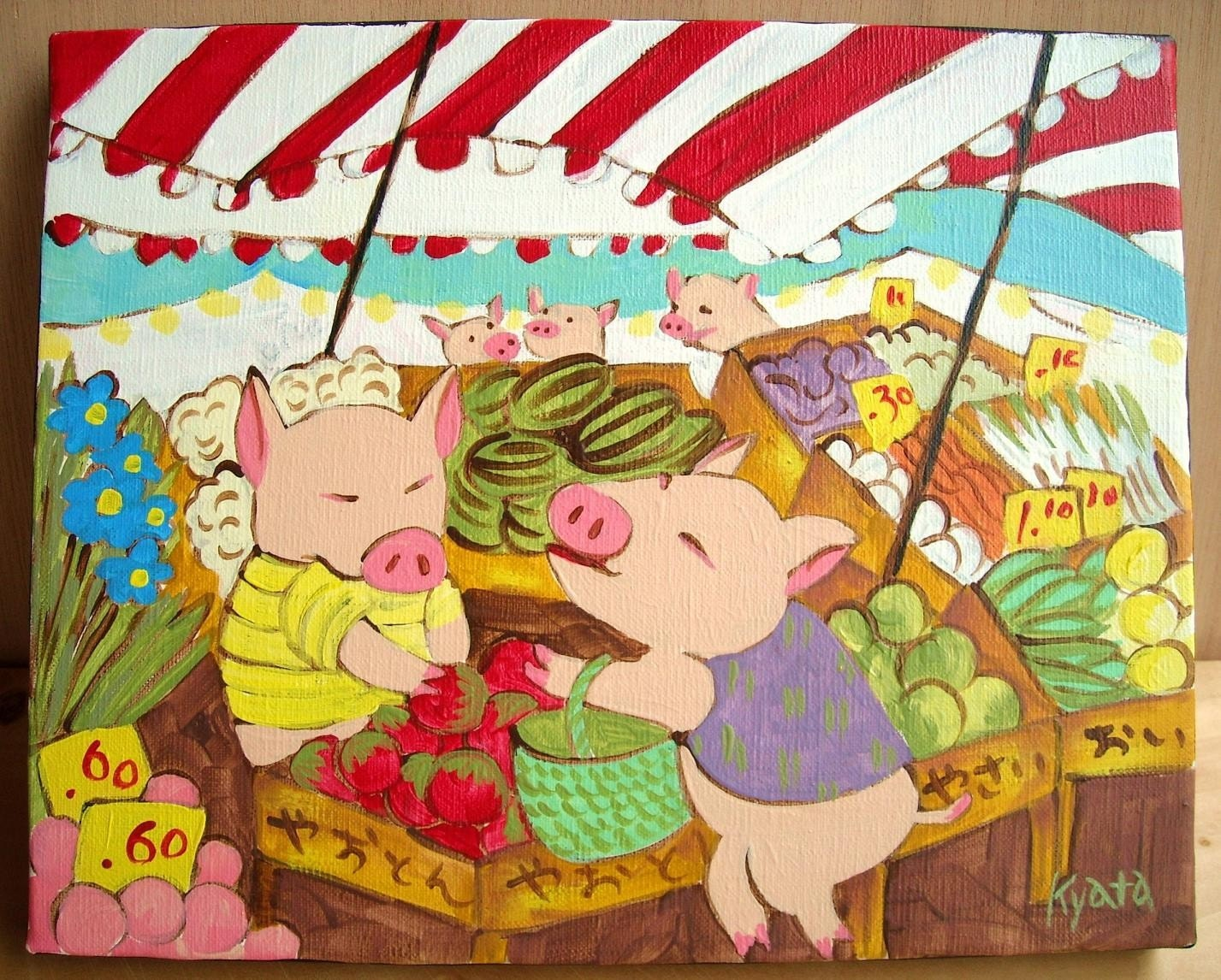 This Little Piggy Went To The Market, Original Acrylic Painting