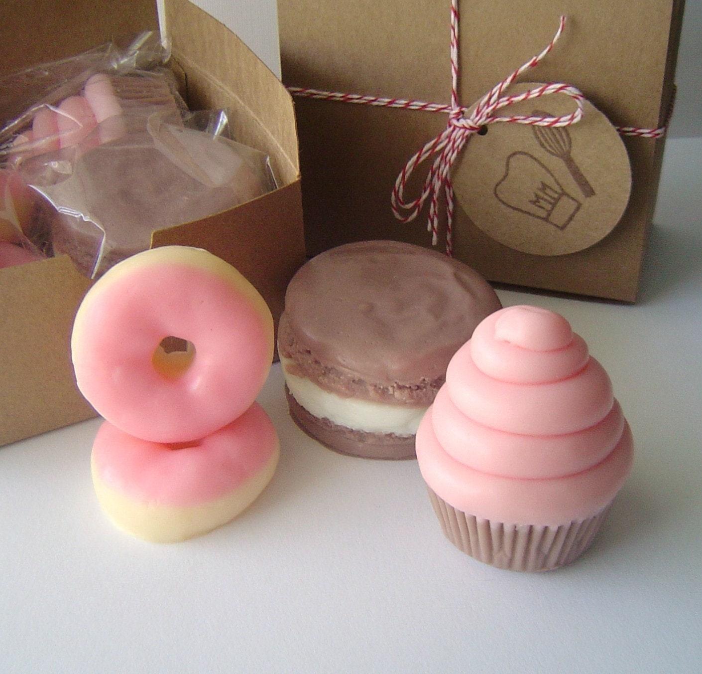 Sweet Treat Gift Set-Raspberry Cream Mini Swirl Cupcake, Chocolate Cream Cheese French Macaron, Frosted Strawberry Mini Donuts-Goat's Milk Soap