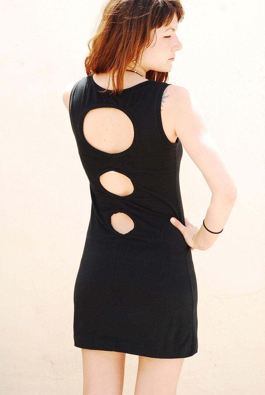 Party dress, Black Mini Dress. Open back.