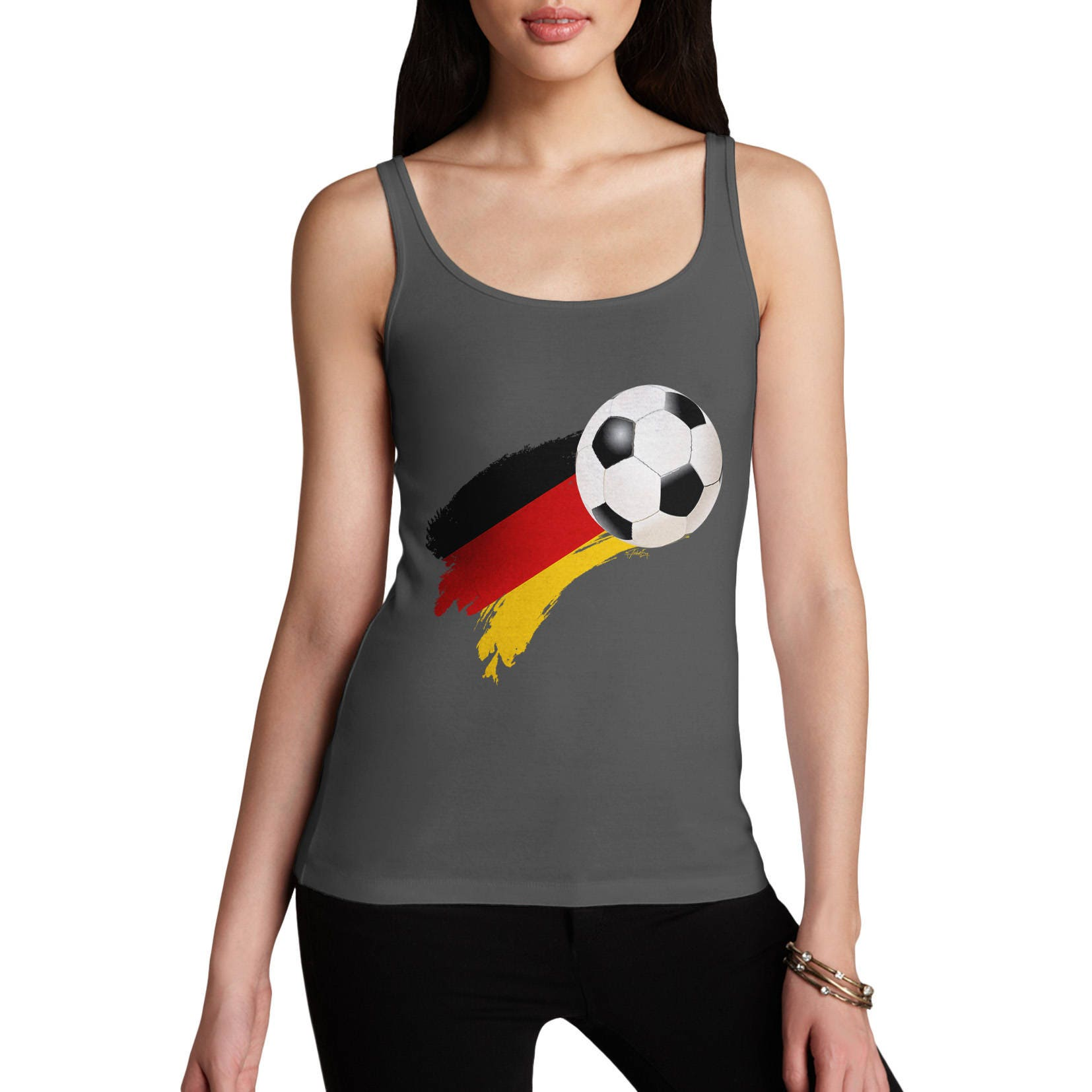 Germany Football Flag Paint Splat Womens Funny  Tank Top  100 Cotton Fashion Tank Top