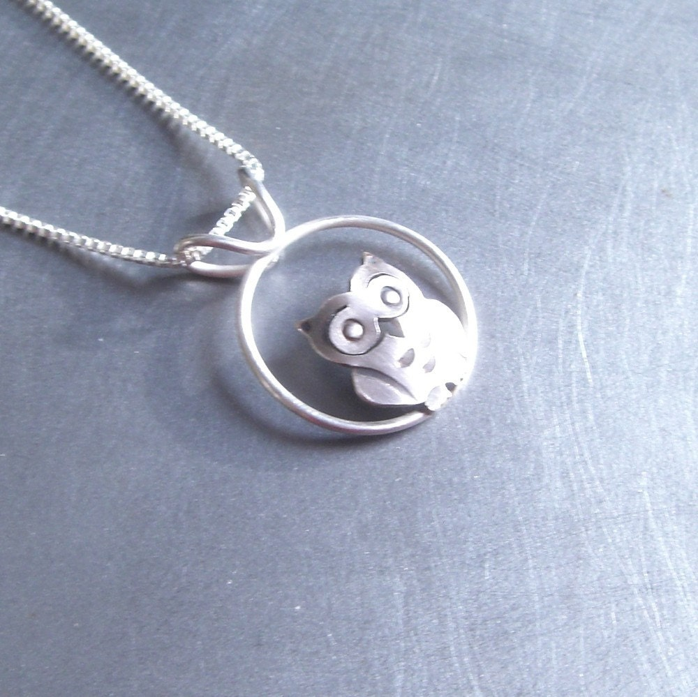 Small Silver Owl Necklace