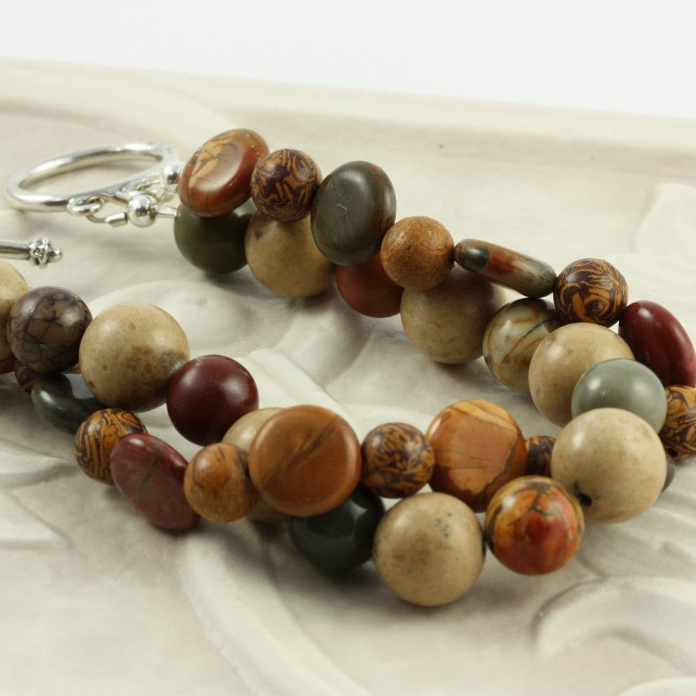 Owyhee Jasper Earth Tone Bold Bracelet with by abacusbeadcreations from etsy.com