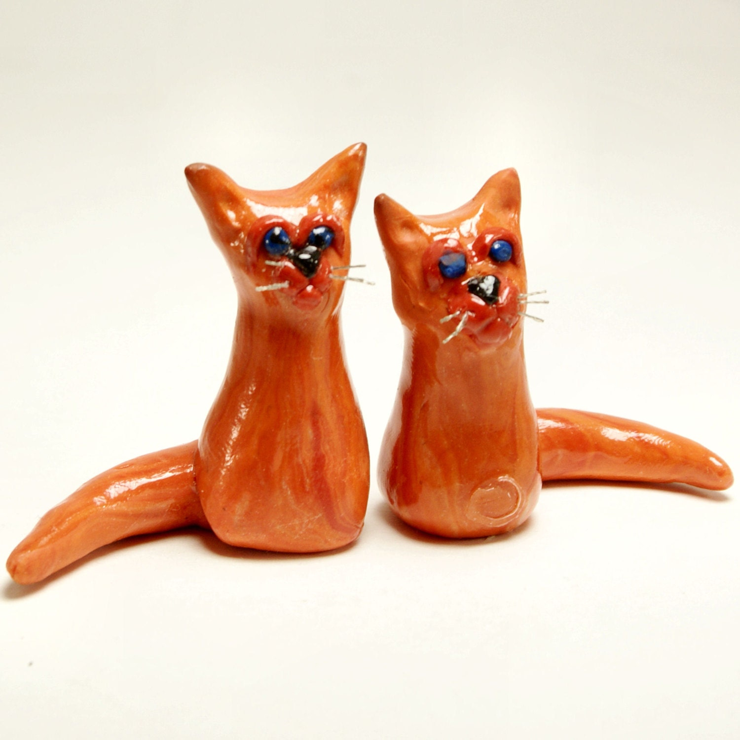 Coral & Jack Sister and Brother Cats Handcrafted Polymer Clay Sculpture - KindredImages