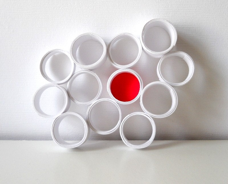 Paper Magnet - Circles, Bubbles, Unique, Round, Geometry, Geometric, Abstract, Funky, Red, White