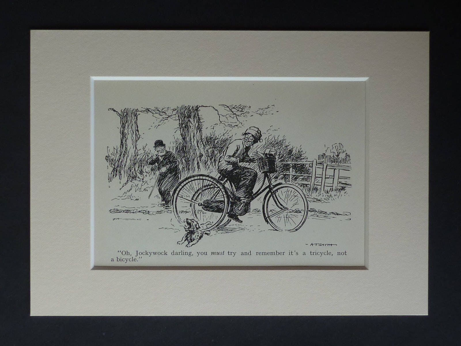 1930s Antique Scottie Dog Print Available Framed Tricycle Art Scottish Terrier Gift for Animal Lover Old Vet Picture Veterinary Cartoon
