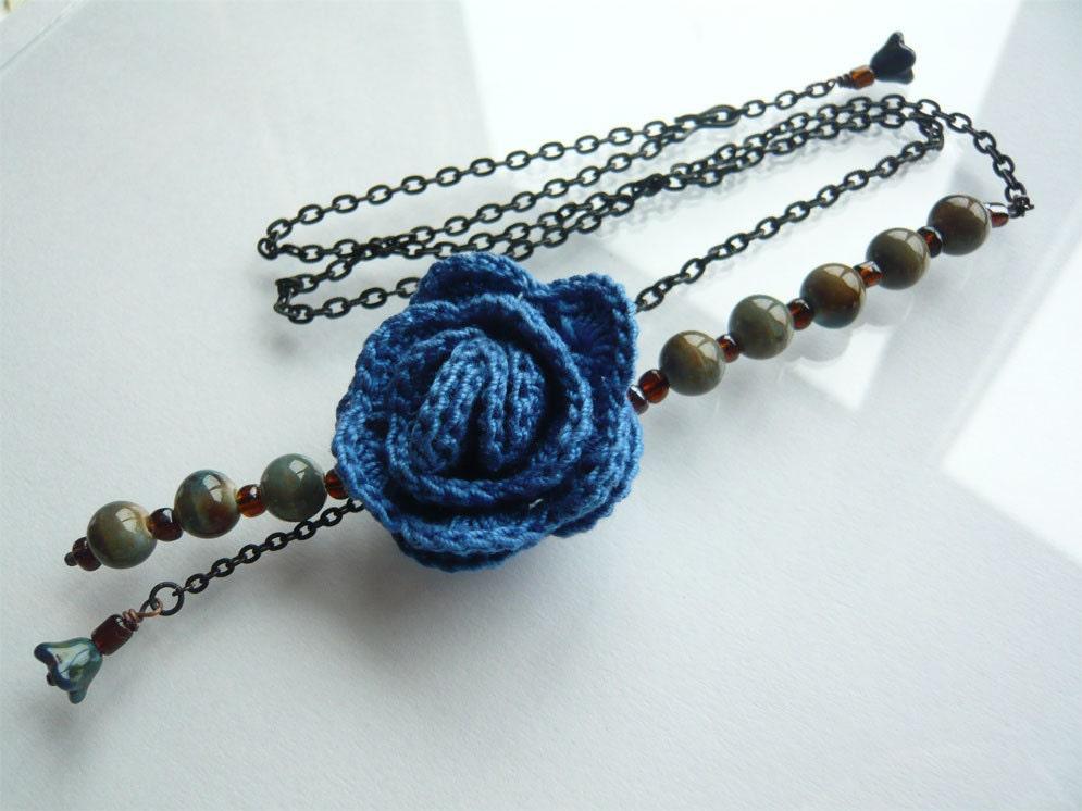 Blue Rose Crochet Necklace