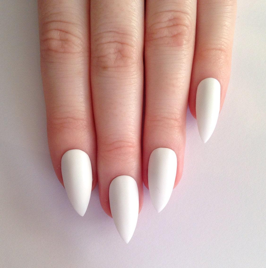 Matte White Stiletto nails  Nail designs  Nail art  Nails  Stiletto    White Matte Nails