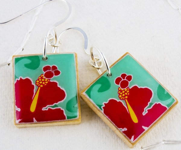 Red Hawaiian Hibiscus Earrings