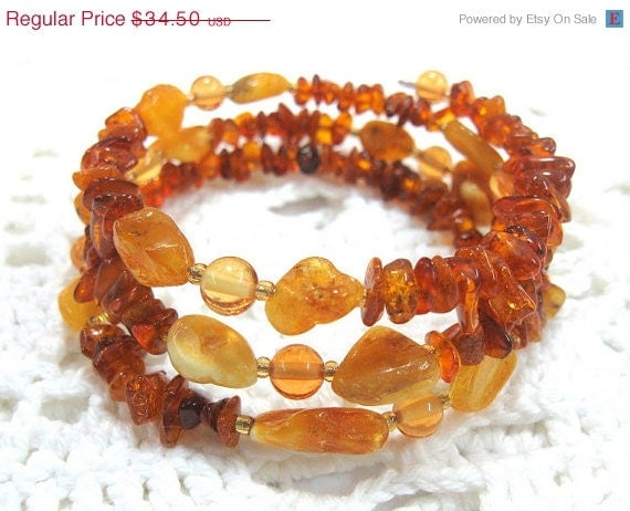ON SALE Baltic Amber Bracelet Brown Yellow Amber  Memory wire beaded bracelet  Rustic Organic semiprecious Amber Chips Nuggets  under 50 OO - SanaGem