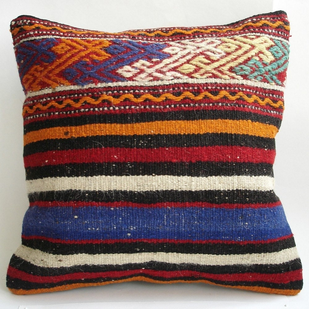 BIG SALE / Hand Woven - Turkish Kilim Pillow Cover - 16x16